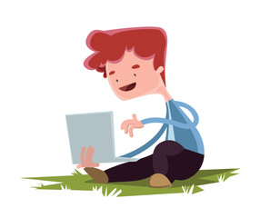 Young boy with laptopgrass vector illustration cartoon character