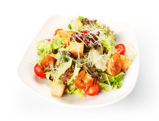Restaurant food isolated - caesar salad with shrimps