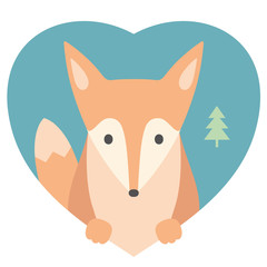 Animal set. Portrait of a fox in love in flat graphics