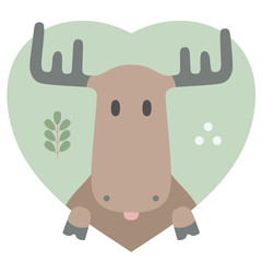 Animal set. Portrait of a moose in love in flat graphics
