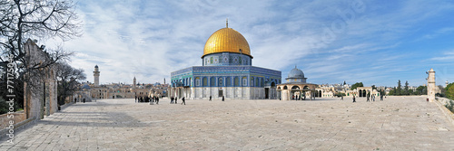 Leinwanddruck Bild Panorama of Temple Mount with Dome of the Rock Mosque, Jerusalem