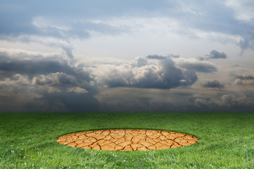 Arid circle on a green glade