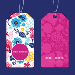 Vector fairytale flowers vertical round frame pattern tags set
