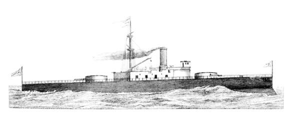 19th century engraving of an English warship (Trafalgar)