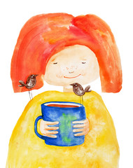 Girl with cup and birds. Watercolor. Hand drawing