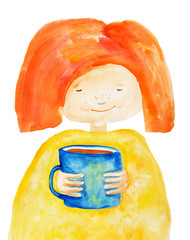 Girl with cup. Watercolor. Hand drawing.