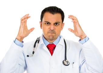 Headshot angry doctor isolated on white background