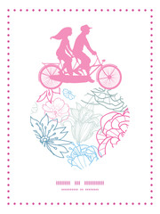 Vector gray and pink lineart florals couple on tandem bicycle