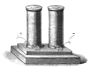 19th century engraving of an electromagnet
