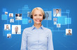 happy female helpline operator with headphones