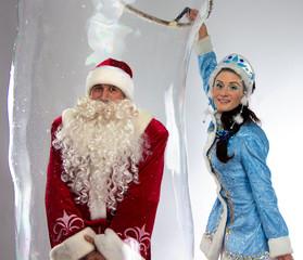 Photo of happy Santa insede the soap bubble