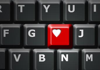 Tecla roja, amor, corazón, teclado, ordenador, fondo