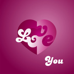 Love You heart logo purple background
