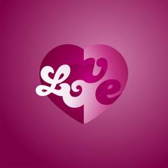 Love heart logo purple background