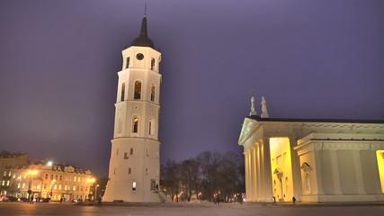 Night Vilnius Cathedral Square, timelapse.