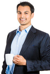 business man in suit drinking coffee