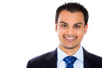 Headshot smiling business man isolated on white background