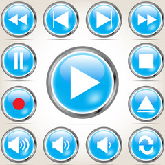 Set of blue Media buttons with shadow