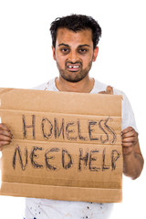 portrait homeless hopeless hungry man holding need help sign