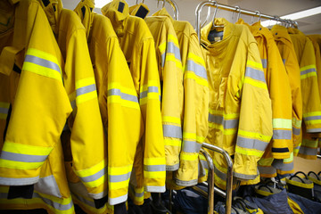 firefighter suit and equipment ready for operation.