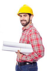 Portrait of a smiling young architect on white background