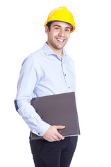 Young architect holding a folder on a white background