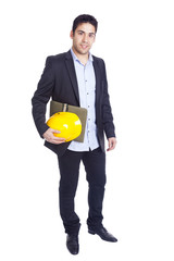 Young architect holding a helmet and a folder on a white backgro