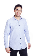 Portrait of a happy smiling young casual man, isolated on white