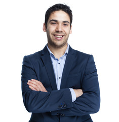 Portrait of a happy smiling young business man, isolated on whit