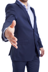 Businessman giving his hand, isolated on white background