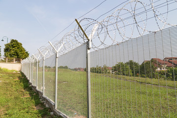 Security fencing at residential neighborhood