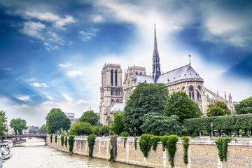 Beautiful sky over Notre Dame, Paris