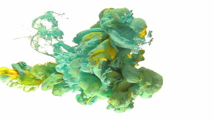Ink color drop, turquoise, yellow and green color