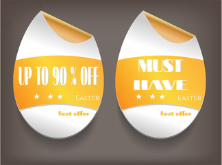 Card with two, isolated labels, text Up To 90 percent Off, Must