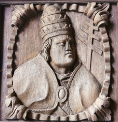 Wooden engraving of a bishop at Tui Cathedral, Galicia, Spain
