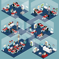 Isometric Office People vector detailed illustration