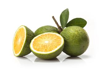 sweet green Oranges fruit  isolated on white background