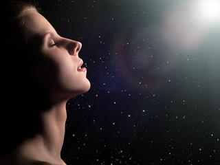 dreaming woman profile