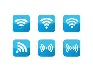 Wifi Icons Blue Glass