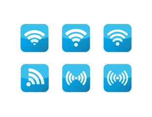 Wifi Icons Blue Glass