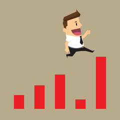 Businessman skips the crisis with a jump on a positive statistic