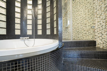 Designed shower in gleaming bathroom