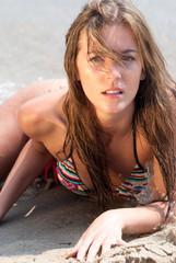 Romanian woman with bikini in Hellenic beach