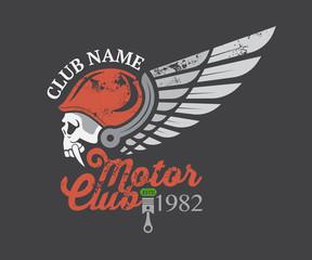 Motor skull sticker and club