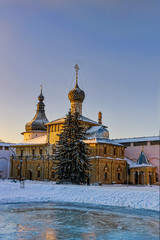 Orthodox church in the evening