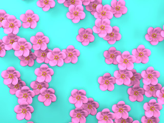 Cherry Blossoms On Blue Background