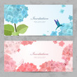 Collection of beautiful romantic banners. hydrangea for your des