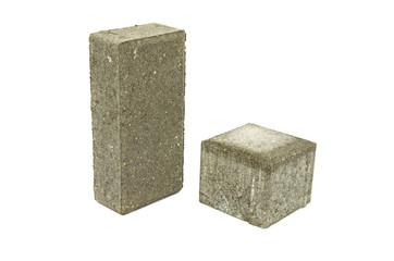 two  gray  street pavement concrete bricks paving stone isolated
