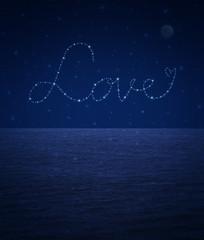 love heart from beautiful bright stars on fantasy sky