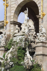 Barcelona ciudadela fountain with golden quadriga of Aurora